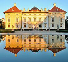 Slavkov castle reflected in water by MartinCapek