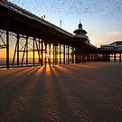 Starlings gathering at sunset over Blackpool North Pier by Martin Lawrence