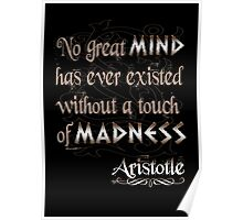 No great mind has ever existed without a touch of Madness-Aristotle Poster