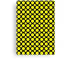 Yellow Polka Dots On Black Background Canvas Print