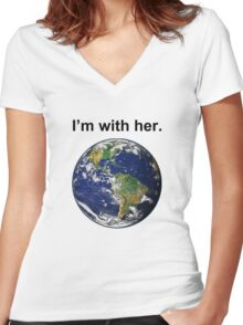 I'm With Mother Earth Women's Fitted V-Neck T-Shirt