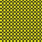 Yellow Polka Dots On Black Background by Mythos57