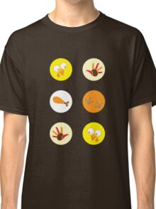 Thanksgiving stickers with drumstick feet and turkeys faces Classic T-Shirt