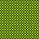 Lime Polka Dots On Black Background by Mythos57