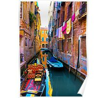 Side Canal, Venice Poster