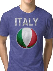 Italy - Italian Flag - Football or Soccer Ball & Text 2 Tri-blend T-Shirt