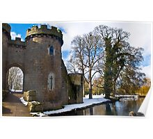 Whittington Castle with snow Poster