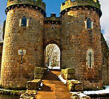Whittington Castle gatehouse with snow by dunawori