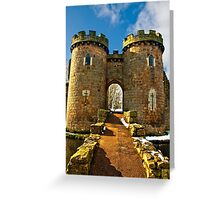 Whittington Castle gatehouse with snow Greeting Card