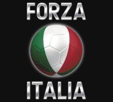 Forza Italia - Italian Flag - Football or Soccer Ball & Text 2 Kids Clothes