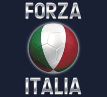 Forza Italia - Italian Flag - Football or Soccer Ball & Text 2 Kids Clothes