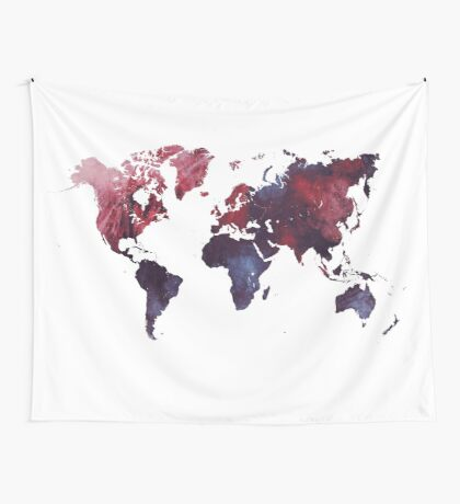 world map art 3 Wall Tapestry