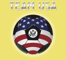 Team USA - American Flag - Football or Soccer Ball & Text Kids Clothes