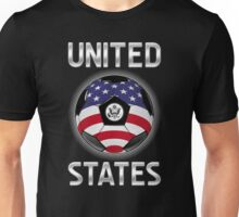 United States - American Flag - Football or Soccer Ball & Text Unisex T-Shirt