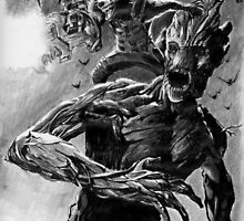 Rocket and Groot pencil drawing by EJTees
