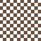 Brown and White Squares Pattern Print by red addiction