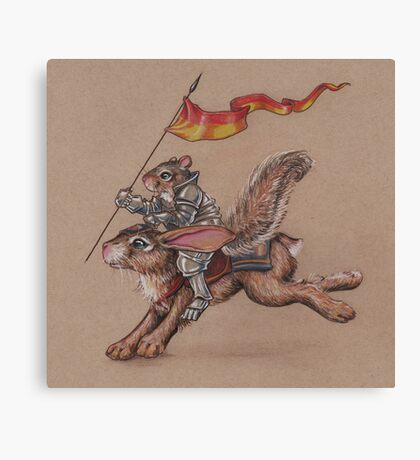 Squirrel in Shining Armor with trusted Bunny Steed  Canvas Print