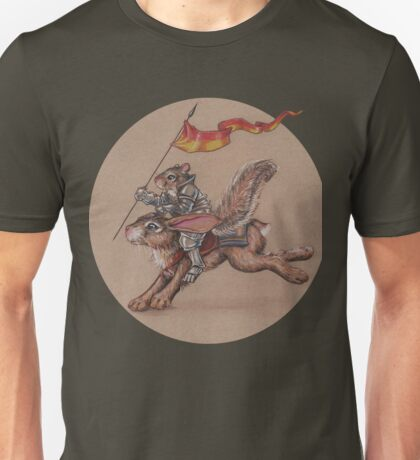 Squirrel in Shining Armor with trusted Bunny Steed  Unisex T-Shirt