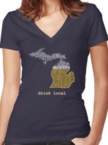 Drink Local (MI) Women's Fitted V-Neck T-Shirt