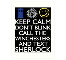 SUPERWHOLOCK SUPERNATURAL DOCTOR WHO SHERLOCK Art Print