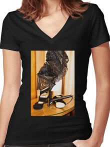 Corset, Heels and a Baton Women's Fitted V-Neck T-Shirt