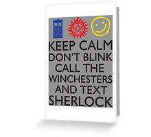SUPERWHOLOCK SUPERNATURAL DOCTOR WHO SHERLOCK Greeting Card