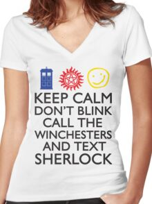 SUPERWHOLOCK SUPERNATURAL DOCTOR WHO SHERLOCK Women's Fitted V-Neck T-Shirt