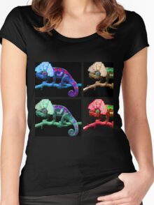Warhol's Chameleon painting  Women's Fitted Scoop T-Shirt