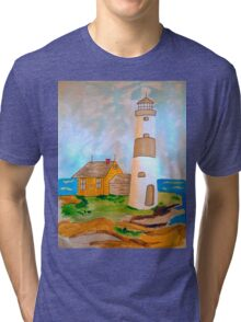 The Lighthouse by the Sea Tri-blend T-Shirt