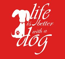 Life is better with a dog Womens Fitted T-Shirt