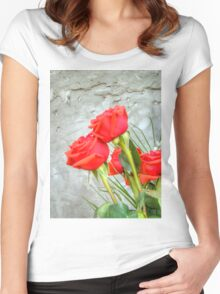 Bouquet with Red Roses 3 Women's Fitted Scoop T-Shirt