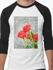 Bouquet with Red Roses 3 Men's Baseball ¾ T-Shirt