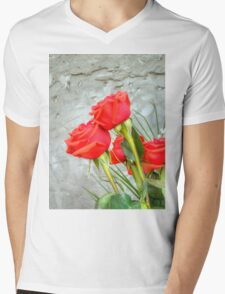 Bouquet with Red Roses 3 Mens V-Neck T-Shirt