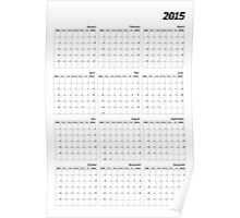2015 right wall planner vertical italic month start Sunday Poster