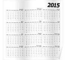 2015 right wall planner square italic month start Sunday Poster