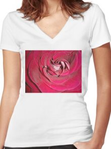 Closeup of Red Rose Women's Fitted V-Neck T-Shirt
