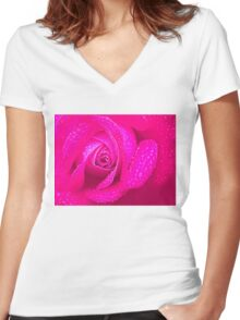 Closeup of Pink Rose Women's Fitted V-Neck T-Shirt