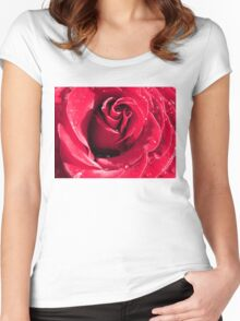 Closeup of Red Rose 3 Women's Fitted Scoop T-Shirt