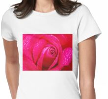 Closeup of Pink Rose 2 Womens Fitted T-Shirt