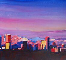 Denver Colorado Skyline With Luminous Rocky Mountains by artshop77