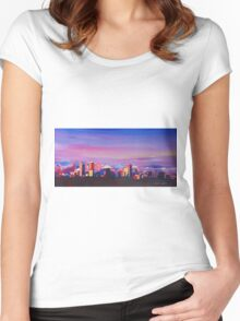 Denver Colorado Skyline With Luminous Rocky Mountains Women's Fitted Scoop T-Shirt