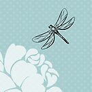Dragonfly and Rose Print by red addiction