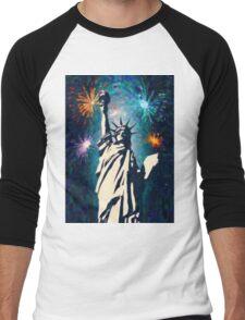 4th of July Fireworks 2 Men's Baseball ¾ T-Shirt