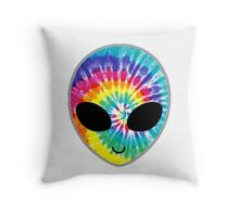 Tie Dye Alien Throw Pillow