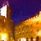 Volterra Tuscany, Piazza Dei Priori By Night by Corina Daniela Obertas