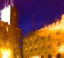 Volterra Tuscany, Piazza Dei Priori By Night by Corina Daniela Obertas