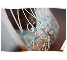 White Cage with Blue Detail Poster
