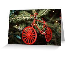 Red Bicycle Ornament on Lit Tree Greeting Card