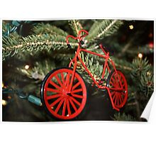 Red Bicycle Ornament on Lit Tree Poster