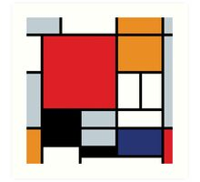 Mondrian Composition With Large Red Plane Art Print